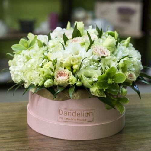 щляпная коробка с цветами